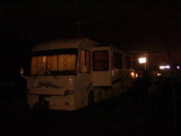 Trying to hook up an unfamiliar RV to electricity and water in the dark is hard.