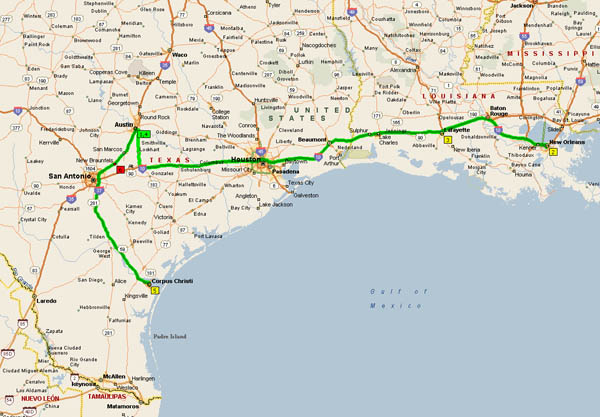 NOTE: Microsoft MapPoint refuses to take Hwy 71 from Bastrop to Austin.  Stupid!