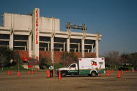 Ambulance takes to the cone course at Cajun Field