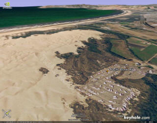 Aerial photo showing RV park and dunes, looking north toward Pismo Beach