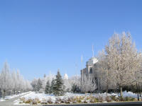 The Nevada state capitol in Carson City, looking like a winter wonderland.