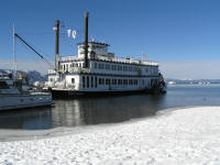 The Tahoe Queen, about to depart for a lightly-attended cruise.