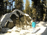 Debbie finds one of several big rocks that formed part of shelters used by others in the party.  This was more difficult to find than you'd imagine, what with the snow covering the paths.