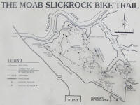 The official Slickrock Bike Trail map.  Looks like an innocuous 10 miles or so, but it doesn't show the approximately 100,000 vertical feet covered by going up and down about a thousand petrified dunes.